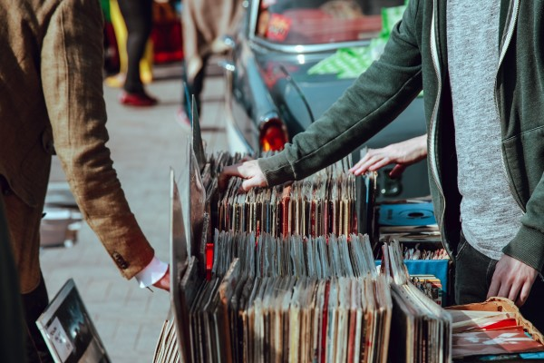people shopping for records outside